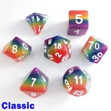 Rainbow Poly 7 DICE JDR Set Red Orange Yellow Green Blue Purple Classic d&d HD