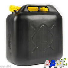 20L BLACK PLASTIC FUEL JERRY CAN PETROL DIESEL WATER 20 LITRE WITH SPOUT