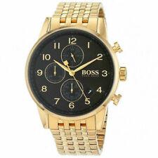 HUGO BOSS Navigator Gold Plated Wrist Watch for Men - Black (1513531)