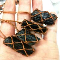 Jewelry Natural Crystal Necklace Woven Jet Stone Pendant Radiation Protection
