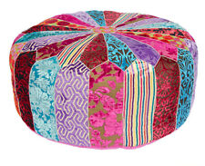 Sumptuous Velvet Indian Patchwork Multi Colour Pumpkin Pouffe Foot Stool