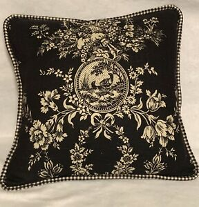 French Country Cottage Pillow Farm Fresh Black Ivory Toile Check