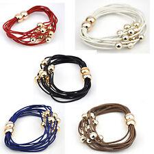 Multi strands leather bracelet rose gold finish plastic beads magnetic clasps