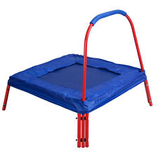 Blue Square Jumping Trampoline 3' x 3' FT Kids w/ Handle Bar and Safety Pad