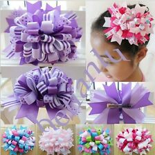 "12 BLESSING Girl 5.5/"" Double Organza With Grosgrain Hair Bow Rhinestone Clip"