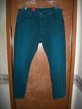 NWT LEVI'S 501 CUSTOMIZED & TAPERED TEAL BUTTON FLY JEANS SIZE 38 X 32 Ret.$79.5