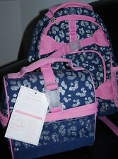 NWT Pottery Barn Kids Girls Navy Silver Mackenzie Backpack Small lunch bag 2PC