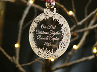 """Acrylic Personalised Christmas Tree Decoration Bauble """" Our First Christmas"""""""