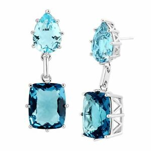 32 ct Created Sky Blue Topaz & Spinel Drop Earrings in Rhodium-Plated Brass