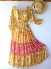 New~Sunshine Yellow Floral Peasant Tiered Garden Spring Boho Dress~Size Large L