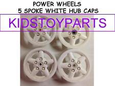 4 White POWER WHEELS 5 SPOKE HUB CAPS FOR JEEPS AND TRUCKS