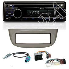 Mueta CD SD aux radio + Renault Twingo viento diafragma gris claro ISO adaptador + antena