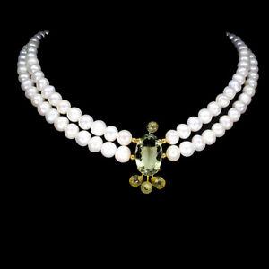 Oval Green Amethyst 21x14mm Lemon Quartz Pearl 925 Sterling Silver Necklace 18