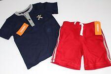 Gymboree Home Run Kid Boys Red Shorts Baseball Shirt Top Set Size 12-18 M NWT