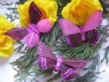 Plum & Pink Feather Butterflies - Set of 3 - Substandard - Reduced