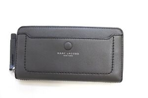 Marc Jacobs Pebbled Leather Continental Zip Around Wallet Dark Grey M0013048