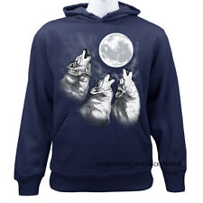 Native American Indian 3 Wolf Howling At The Moon Graphic Pullover Hoodie