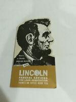 Lincoln federal savings loan association dollar builder dime bank cardboard NOS