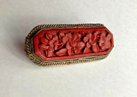Vintage Carved Ornate Cinnabar Estate Jewelry Pin Brooch, China!