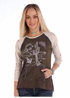 Panhandle Slim Women's Brown & Grey Desert Long Sleeve Tee L8T2874 L8X2874