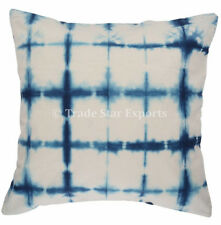 2 Pcs Indigo Tie Dye Cushion Cover 16x16 Shibori Cotton Throw Sofa Pillow Cases