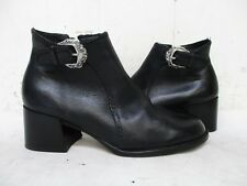 Brighton Black Leather Zip Silver Buckle Ankle Boots Womens Size 7.5 N