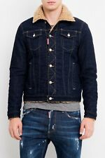 65% OFF DSQUARED2 stretch denim jacket XL IT52 shearling fur wool not  leather