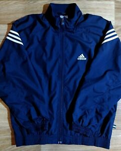 Adidas 90's Vintage Mens Tracksuit Top Jacket Navy Blue White Stripes