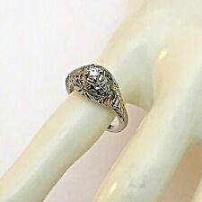 Vintage 14k White Gold .15 Ct Round Diamond Filigree Ring Size 5 1/4, 3.3 Grams