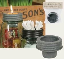 Primitive new barn gray MASON JAR tapered tin cup lid /nice decor storage lid