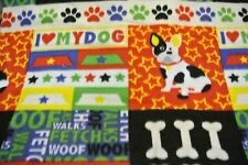 Pet Blanket Poodles Dogs Bones Paw Prints Can Personalize Double Sided 28x22 Red