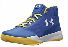 Under Armour Mens Jet Basketball Shoe 1300016-400 Blue Yellow & White Size 10