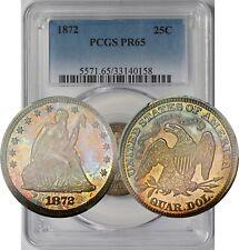 1872 25C PCGS Proof PR 65 (Rainbow Color Tone) Liberty Seated Quarter
