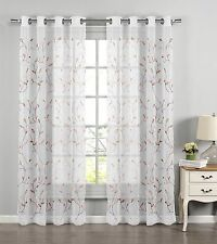 Window Elements Wavy Leaves Embroidered Sheer Extra Wide 54 x 84 in Grommet