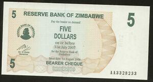 Zimbabwe 5 Dollars 2006 Pick 38 UNC Radar# 3328233