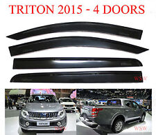 4 DOOR MITSUBISHI L200 TRITON PICKUP BLACK WIND SHIELD VISOR AIR GUARD 2015 16