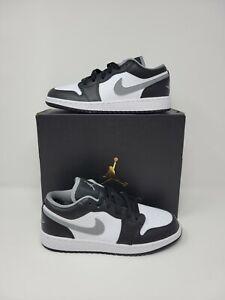 Nike Air Jordan 1 Low Black Particle Grey White Shadow 553560-040 Size 4.5Y-7Y