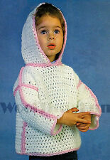 Crochet Pattern Girls Hooded Top/Sweater.  51 to 61cm Chest.