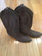 Leather Suede Cowboy Western Boots 9B Brown • Made in Brazil • Style 6193 Used