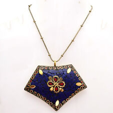 """Gold Plated Tibetan Pendant Chain 17-18"""" Lapis Lazuli With Red Coral Gemstone"""