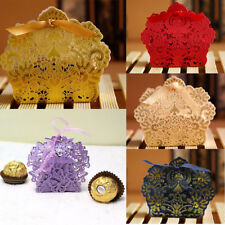 Lace Laser Cut Wedding Favor Boxes with Ribbon Cake Candy Gift Boxes 10/50/100