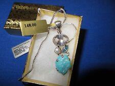 STUNNING~Starborn Creations Blue Topaz Turquoise Cut Crystal Gemstone Pendant