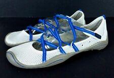 J41 Barefoot Design Womens White Blue Vlcro Sport Sandal Water Shoes Sz 9 M