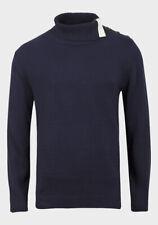 Mens Dark Blue Navy Knitted Cotton High Neck Jumper Size S