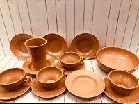 15 Vtg Franciscan Coronado Swirl Matte Pink Coral Cups Saucers RARE Tumbler