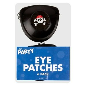 6x PIRATE EYE PATCHES PINATA TOY KIDS PARTY LOOT BAG FILLERS COSTUME SKULL
