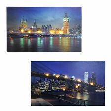 2x LED-Bild, Leinwandbild Leuchtbild Wandbild, Timer Bridges 60x40cm