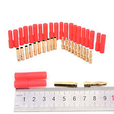 10 pack HXT 4mm bullet bananas plugs with red housing for RC connectors AM-1009C