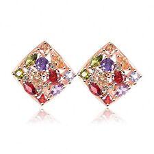Square Colorful Zircon 18K GP Omega Ear Stud Earrings ER0135C