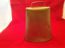 Larger Vintage Metal Animal/ Cow Bell Gold Color Finish Intact  W/ Handle